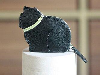 お座り子猫のコインケース・ブラック/ピスタチオの画像