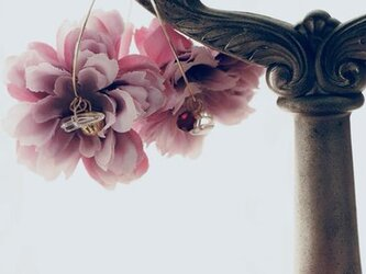 ‐NewColor‐フラワーイヤリングPeonyピオニー芍薬Violetヴァイオレット さくら桜ピンクの画像