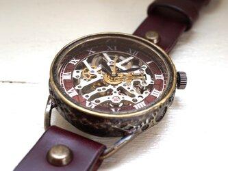 メカニックシルバー AT ワインブラウン 真鍮 手作り腕時計の画像