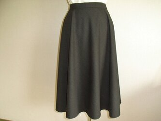 ウールのフレアスカート(焦げ茶)の画像
