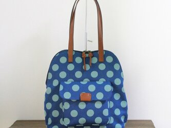 11号帆布ドット柄のバッグ(ターコイズブルー)の画像