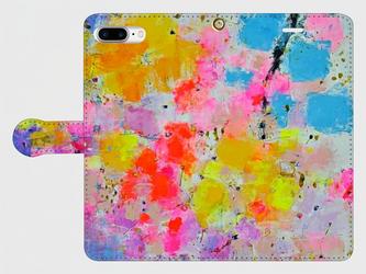 """アートペイント """"花束"""" iphone 6plus/7plus/8plus 専用 手帳型ケース 抽象画の画像"""