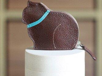 お座り子猫のコインケース・ブラウン×サックスの画像