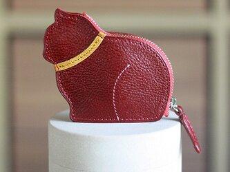 お座り子猫のコインケース・バーガンディ/イエローの画像