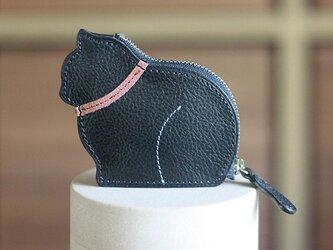お座り子猫のコインケース・ネイビー/ピンクの画像