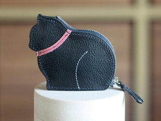 お座り子猫のコインケース・ネイビー×ピンクの画像