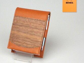 木と革のRHODIA No.11カバー [キャメル]の画像