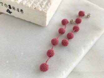 編み玉5連ピアス/ノンホールピアス くすみピンクの画像