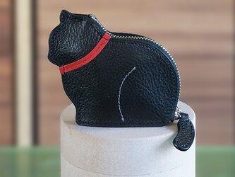 お座り子猫のコインケース・ブラック×レッドの画像
