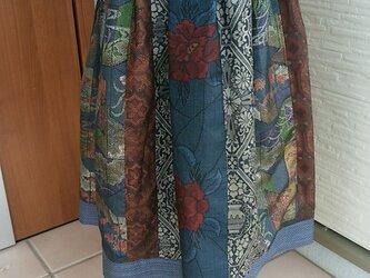 着物リメイク 大島紬 パッチスカートの画像