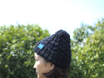 受注製作 手紡ぎハンドニット帽:ネイビー・ブラックの画像