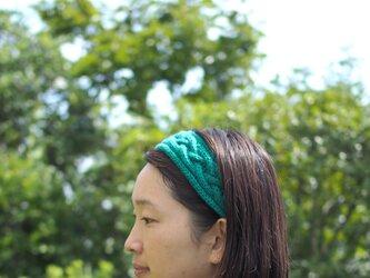 カシミア100%のヘアバンド ターコイズグリーンの画像