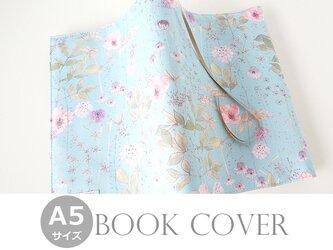 リバティ A5ブックカバー イルマ 水色とピンクの画像
