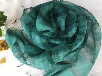 【藍とキハダの重ね染め】シルクボーダー柄ストール 濃緑色(こみどりいろ) の画像