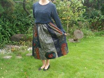 着物リメイク ♪ 大島紬のパッチスカート ♪一点品の画像