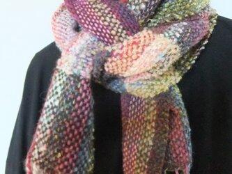 お気に入りの糸たちの手織りマフラーf7の画像