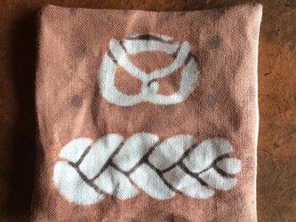 柿渋染めコースター  編みパンの画像