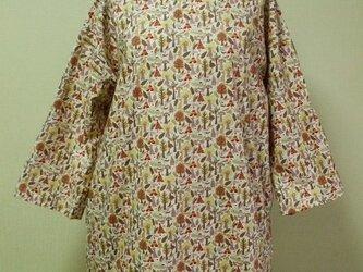 【セール品】インディアン柄プリント Vネックチュニック丈ワンピース 両脇ポケット付き Lサイズの画像