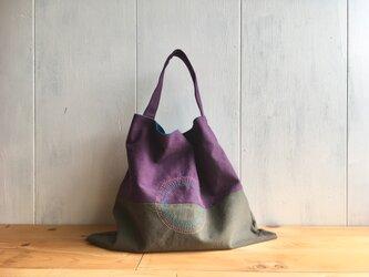 【受注製作】葡萄色とカーキグレーの三角鞄の画像
