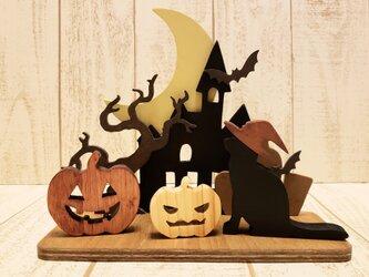 ハロウィン☆ジャックランタンと黒猫の置物☆Halloween☆ハロウィーン☆動物の変更も色変更も可能!の画像