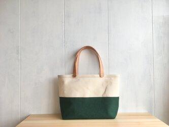 【SALE】深緑色と生成り色の鞄の画像