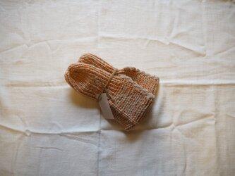 手編みのソックス オレンジの画像