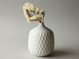 花器 しのぎ クリームホワイト cの画像