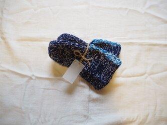 手編みのソックス ネイビーの画像
