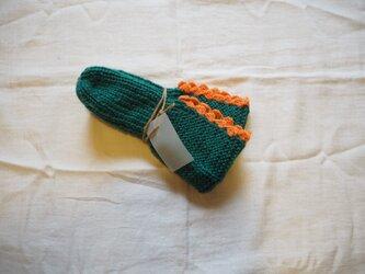 手編みのソックス グリーンの画像