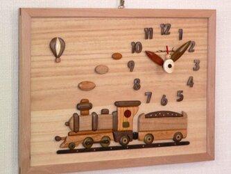 木の時計 蒸気機関車 の画像