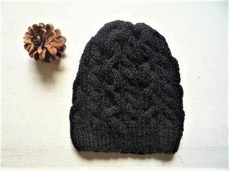 ニット帽子a[ブラック]の画像
