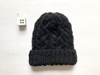 ニット帽子b[ブラック]の画像