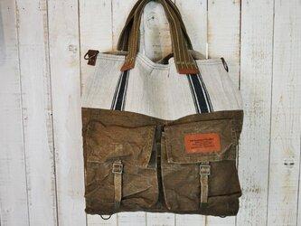 ドイツグレインサック×チェコ軍リュックのトートバッグの画像