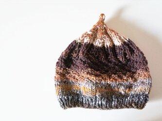 〇送料無料〇 どんぐりニット帽子新作 グラデーションブラウンの画像