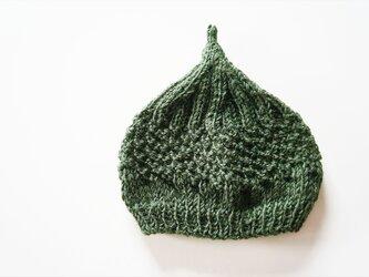 〇送料無料〇 どんぐりニット帽子新作 ダークグリーンの画像