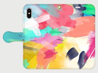 """アートペイント """"なないろ""""  iphone 5/5s/6/6s/SE/7/8/X 専用 手帳型の画像"""