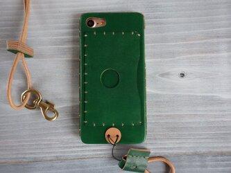 iPhone 8/7/6S/6 (カードポケット)ネックストラップ付【受注製作】の画像