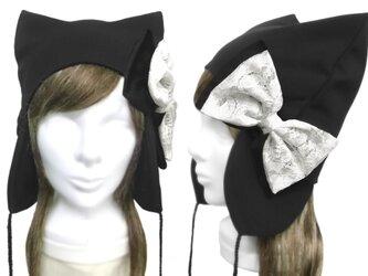 レースリボン飾り/耳あて付ネコ耳帽子(ゆったり)◆コットンニット/ブラックの画像