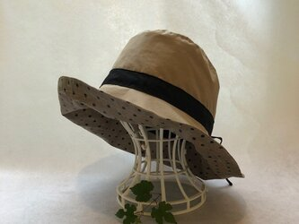 晴雨兼用帽子  リバーシブル ドット レインハット 耐水撥水キューダス 60cm〜65cm サイズ調整可能   大きいの画像