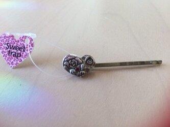 Sweet trapハート薔薇スカルのヘアピンの画像