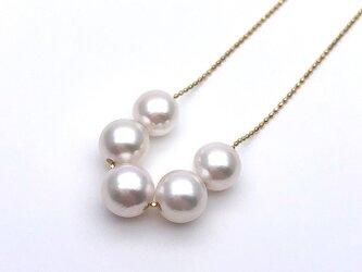 アコヤ真珠 5粒 スルーペンダント あこやパール K18 日本製ゴールドチェーン 金属アレルギー対応 送料無料の画像