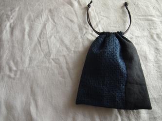 刺し子のパッチワーク巾着【柿の花】の画像