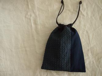 刺し子のパッチワーク巾着【銭刺し】の画像