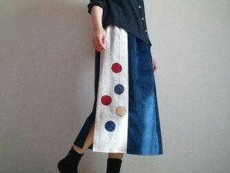ベロア調ブルーロングスカートあめ玉パッチワークウエストゴムの画像