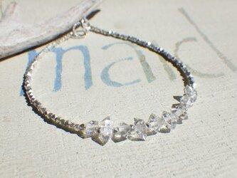 氷粒のハーキマーダイヤモンド&カレンシルバーブレスレット*sv925*の画像