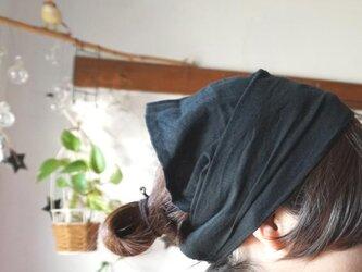 綿麻ブラックカラーのヘアターバンの画像