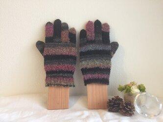 ★☆手編みのカラフル5本指手袋(^^♪☆★の画像