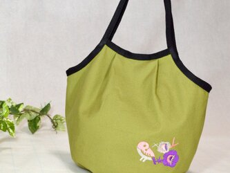 ★-花鳥刺繍-★帆布マチ付きトートバッグの画像