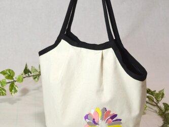 ★-花と詩刺繍-★帆布マチ付きトートバッグの画像