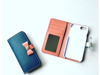 *鏡・クリアポケット付き収納たっぷりイタリアンレザーブッテーロのiPhoneケース iPhone全機種より選択可の画像
